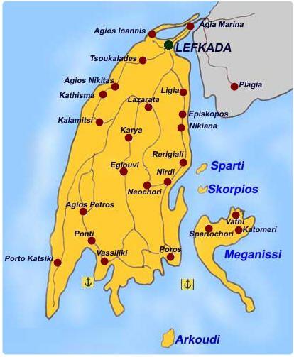 Lefkas Cruises Κρουαζιέρες Λευκάδα Makedonia Palace Lefkada Map